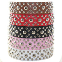 Black Pink Red Brown White Leather Spiked Studded Dog Collar Size S L