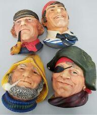 Legend Products 00004000  Chalkware 4 Wall Heads Old Salt Dutchman Seaman Smuggler Vintage