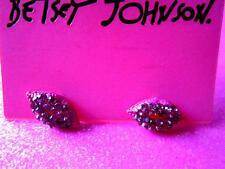 Betsey Johnson Pink Crystal Lips Stud Earrings