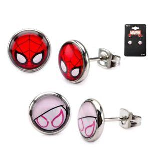 Marvel Spider-Gwen Stainless Steel Earring Set