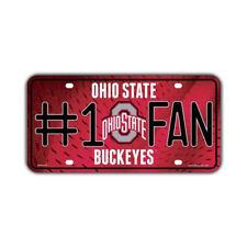 Metal Vanity License Plate Tag Cover (Embossed) - #1 Fan Ohio State Buckeyes