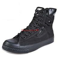 Mens Lace Up Military High Top Hiking Side Zip up Shoes Tactical Ankle Boots