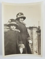 Snapshot Photograph Two Girls Sisters Wearing Matching Hats and Coats 1920s