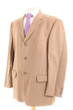 M&S ITALIAN PLAIN CAMEL BROWN BRUSHED COTTON MEN'S SUIT 42R DRY-CLEANED