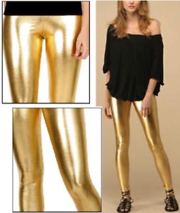 Gold Glanz Leggings Leggin Leggins Hose Metallic 38 40 S M