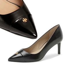 Tory Burch FAIRFORD Gold Logo Low Heel Pump  Black Leather Pump Shoes  9- 39