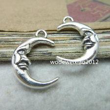10pc Tibetan Silver Crescent Moon Pendant Charms Beads Craft Wholesale  PL221