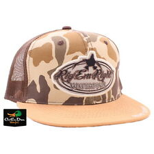 RIG'EM RIGHT WATERFOWL NEW BILL VINTAGE CAMO AND BROWN TRUCKER MESH HAT CAP LOGO