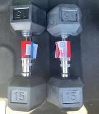Weider 15 Pound Rubber Hex Dumbbell Set Pair - 30 Total Weight Pounds Home Gym