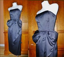 VICTOR COSTA Vtg 80s Black Satin Origami BOW Strapless Evening Party DRESS GOWN