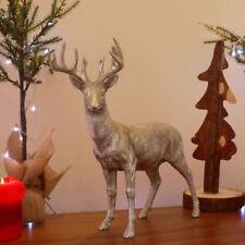 In piedi DEER Stag Renna FIGURINA Argento Ornamento in resina decorazione di Natale