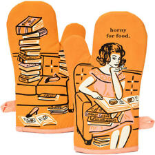 Horny For Food Oven Mitt Blue Q, 100% Cotton Super Insulated, Funny Quirky Gift