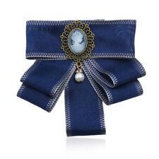 Women's Vintage Pearl Brooch Ribbon Bow Tie Portrait Brooch Pin Wedding Jewelry