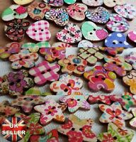 WOODEN HEART / STAR / FLOWER BUTTONS / EMBELLISHMENTS - CUTE, VINTAGE, PATTERN
