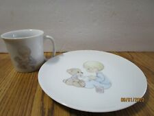"Precious Moments Plate Cup ""Baby Food"" Boy & Teddy Bear Toddler Infant 1984 Vtg"