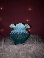 Vintage Fenton Art Glass Blue Opalescent Fat Squat Vase Hand Painted Aqua