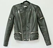 Supertrash Jermaine Black Faux Leather Biker Jacket Zipper Vegan Blogger 34 UK 6