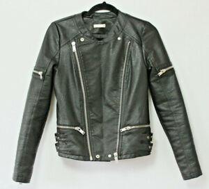 Faux Leather Biker Jacket Supertrash Jermaine Black Zipper Vegan Spring 34 UK 6