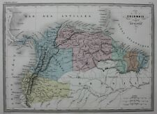 SOUTH AMERICA, COLOMBIA, GUYANA, original antique map, Malte-Brun, c.1882