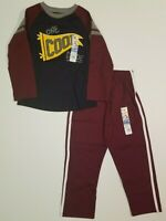 Garanimals Boys One Cool Dude Shirt + Striped Maroon Sweat Pants Toddler 4T
