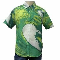 Men's Hawaiian Shirt Vintage Surf Wave Green White WAVE COOL BEACH