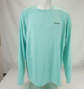 Patagonia Shark Print Long Sleeve Shirt Aqua Blue Men's XL