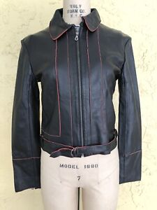 HARLEY DAVIDSON Jacket Black Leather Jacket Coat Motorcycle Babe Biker Chick