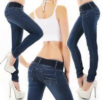 Damen Röhrenjeans Hose Jeans Denim Skinny Stretch blau inkl. Gürtel XS S M L XL