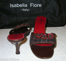 ISABELLA FIORE Leather SHOES Camellia Brown Black Mules Pumps Heels Slides 9 8.5