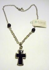 """BARSE BLACK ONYX CROSS NECKLACE STERLING SILVER NEW WITH TAGS 18"""" WESTERN"""