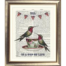 Stampa artistica sulla pagina del libro DIZIONARIO Tea Cup shabby Chic Uccellino vintage foto vecchi