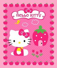 HELLO KITTY FABRIC PANEL QUILT TOP HELLO KITTY CUPCAKE BABY PANEL wall panel NEW