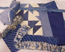 Assorted Blue Fabric W/ Fabric Trim Denim Cotton Quilt Craft Sew Cr 141