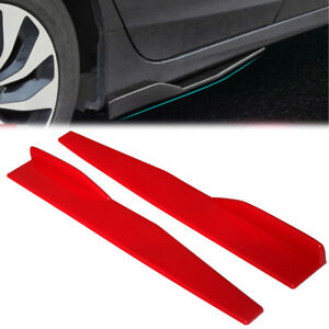 Car Side Skirts Extension Rocker Splitters Wings Canard Diffuser Universal Red