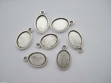 50 Antique Silver 10*14mm Oval Trays Pendant Blank Bezel Cabochon Cameo Setting