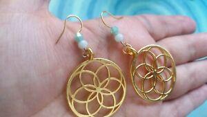 Gold sacred geometry earrings atlantis flower of life aqua green spiritual heal