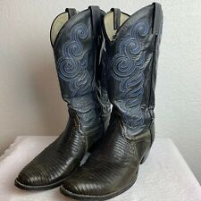 Boots Snakeskin Embroidered Leather Black Blue Cowboy