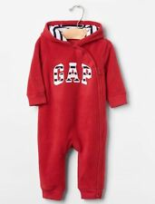 GAP Baby Boys Size 3-6 Months NWT Red Arch Logo Fleece Hoodie One-Piece Bunting