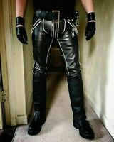MENS LEATHER BREECHES GAY Pants Trousers Motorbike Jeans lederhosen lederjeans