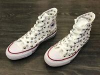 Converse All Star Chuck Taylor scarpe uomo donna alte  BORCHIATE white tela