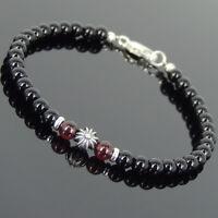 Bright Black Onyx Garnet Sterling Silver Bracelet Mens Women Cross DIY-KAREN 650