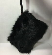 NEW Plush & Soft Black Fur Rhinestone Strap Evening Bag Clutch Party Dance