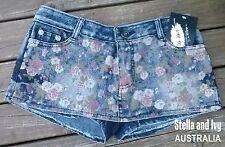 au womens denim short skirt skort size 8 new