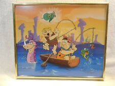 "Flintstones Framed Picture Fred, Barney and Gazoo Fishing 11"" x 9"""