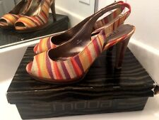 MODA Womens High Heels Slingbacks Zebra Stripe Gum Stilettos Shoes Size 9 ~