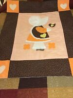 """Vintage handmade Baby Quilt Crib Throw Blanket Sunbonnet Sue W/Lace 54""""x44""""LARGE"""