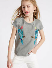 BNWT M&S Girls Grey Short Sleeved Embellished Sequin Bird Top T-Shirt 6-7 Years