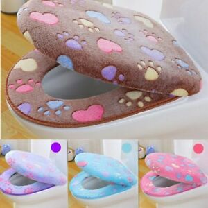 Thick Coral velvet luxury toilet Seat Cover Set soft Warm Zipper One /