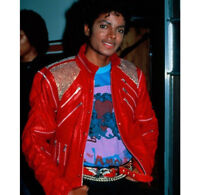2Michael Jackson Classic Styles BEAT IT / THRILLER Red Leather Casual Jacket