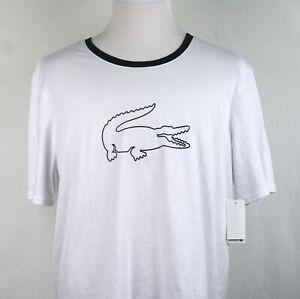 Lacoste Sleepwear T shirt Big Logo Crew Neck Short Sleeve White XL